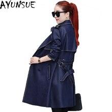 AYUNSUE Новинка весна осень ветровка для женщин длинные тонкие женские пальто двубортное Женское пальто высокого качества LX1452