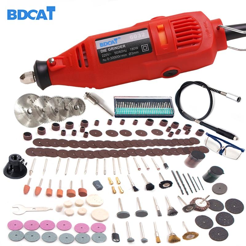 BDCAT 207 W 220 V/110 V estilo Dremel herramienta rotativa grabado Mini máquina de molienda de taladro DIY con 180 piezas unids accesorios de herramientas eléctricas