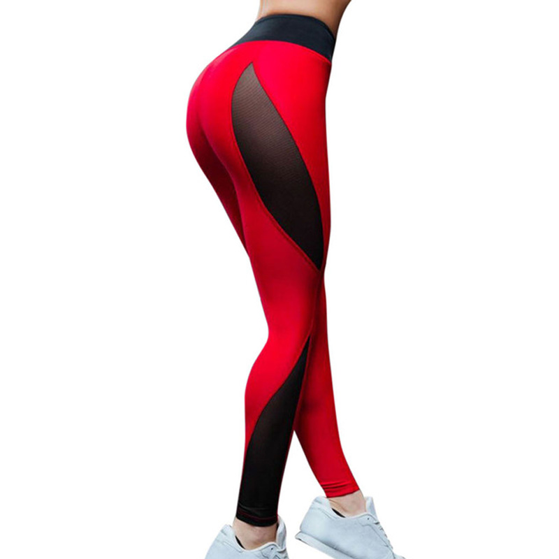 JLZLSHONGLE Hot Red And Black Patchwork Leggings For Women Sexy Mesh Splice Fitness Pants Elastic Workout Slim Trousers DropShip