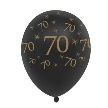 70th Birthday Balloon Black 10 Pcs
