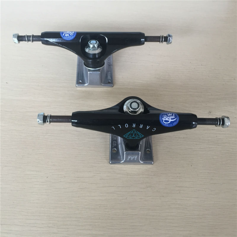 5.25 Pro Royal and Diamond Skateboarding Parts Trucks Aluminum ROYAL CARROLL Black Pro Street Skateboard Trucks