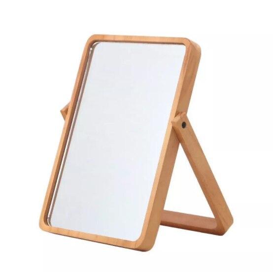 Creative Wooden HD Makeup Mirror Sleek Minimalist Folding Desktop Beauty Vanity Mirror Home Bedroom Decoration Vanity MirrorQ429