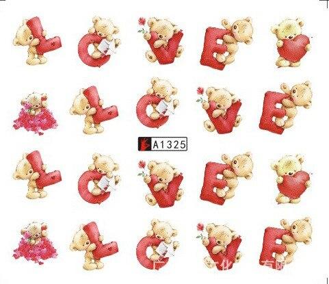 1 лист переводных наклеек для ногтевого дизайна «сделай сам», мишка тедди, надпись «любовь», слайдер, наклейки с водяными знаками, женские кр...