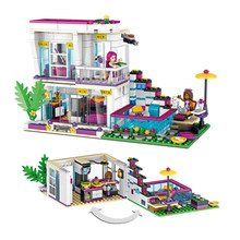 New 619pcs Friends Series Livis Pop Star House Building Blocks Andrea mini-doll figures Toy Compatible with LegoINGLY