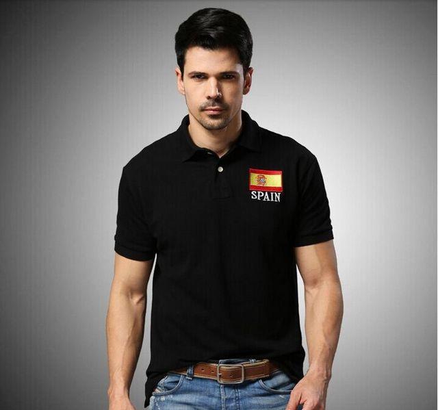 Мужчины рубашки поло бренд дизайн флаг рубашки евро размер испания черный желтый хлопок короткий рукав рубашки свободного покроя тонкие рубашки подходят CBJY5026
