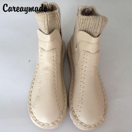 Careaymade серии Сен женский литературный шерстяным короткие зимние ботинки и Ручная работа; вязаное; шерстяное круглый толстой подошве ботильо...