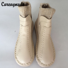 Careaymade-series Sen female literary wool mouth short winter boots and handmade wool round thick soled ankle boots,4 colors