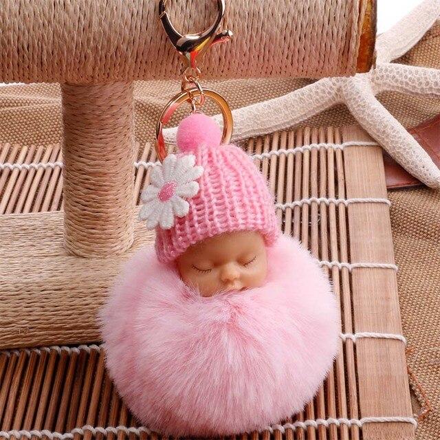 2019 Novo saco de Dormir Do Bebê Boneca Mulheres Pompom Fofo pom pom Keychain llavero chaveiro Chaveiro Bola de Pêlo de Coelho Pompom Porte clef
