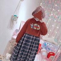 Japanese Harajuku Plaid Hooded Dress Women Chic Style Cartoon Pattern Print Graphic Funny Oversized Spring Kawai