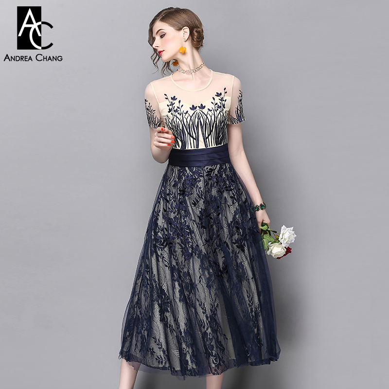 spring summer runway designer womans dress beige dark blue lace patchwork dress floral embroidery calf length party event dress 2017 autumn designer runway style party lace women allover hollow out lace embroidery long sleeve dark blue mermaid dress festa
