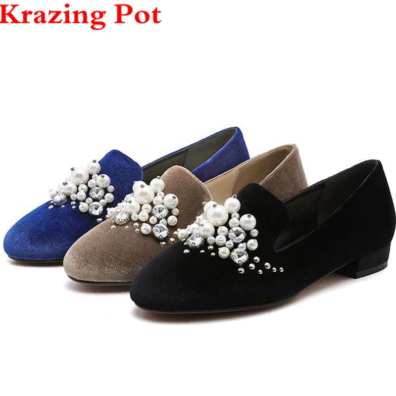 Krazing Pot Gladiator Pearl Big Size Thick Heel Round Toe Handmade Genuine Leather Women Pumps Handmade Loafter Slip on Shoe L