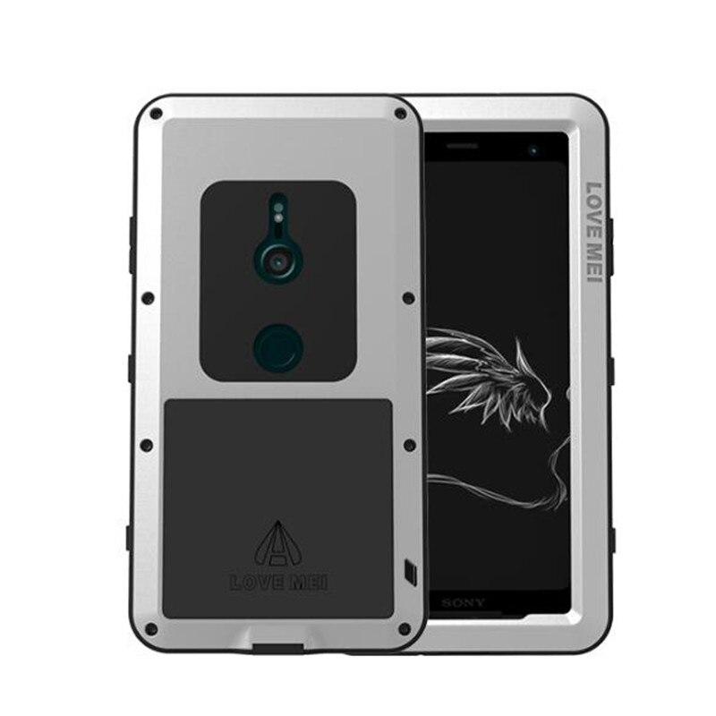 Coque étanche d'origine en aluminium + verre gorille Lovemei pour Sony Xperia XZ3 XZ2 XZ1 XZ Compact