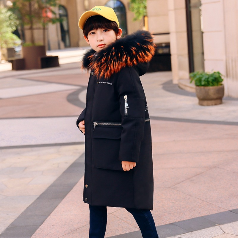 Thick Warm Down Jackets Winter Boys and Girls Duck Down Coats Children Fur Long Outwear Kids Hooded Clothes Size 6 8 10 12 Year цены
