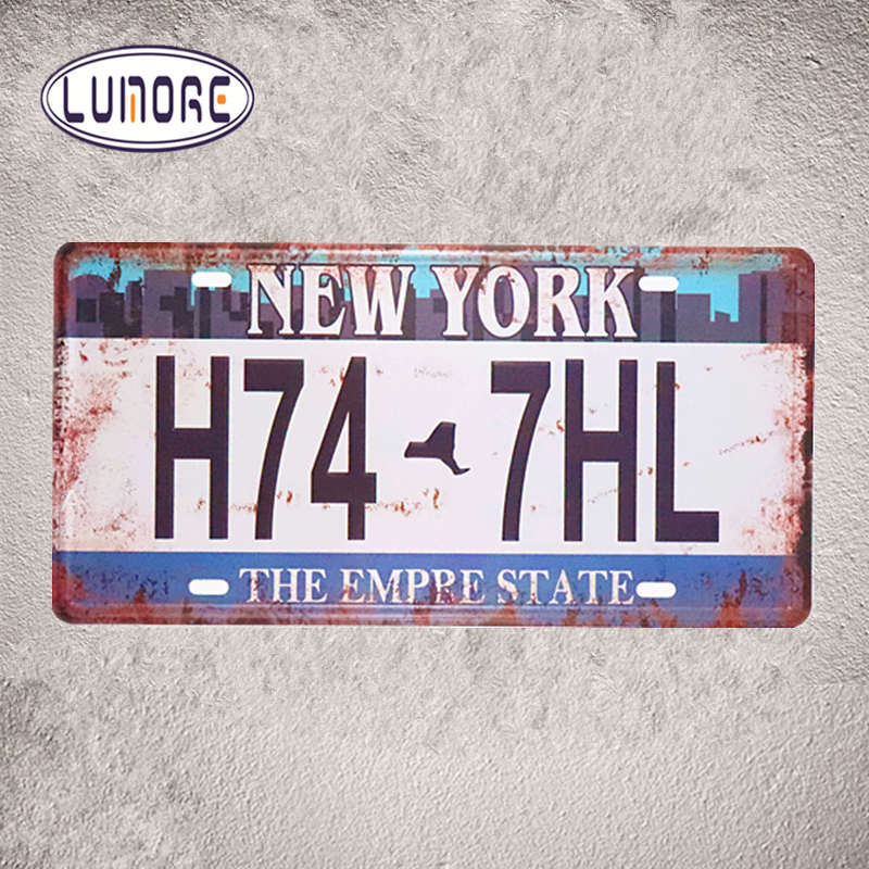 Vintage License Plates Number  NewYork H74 7HL  Metal Tin sign Home Bar Office Restaurant Coffee Cafe Wall Stickers Decor