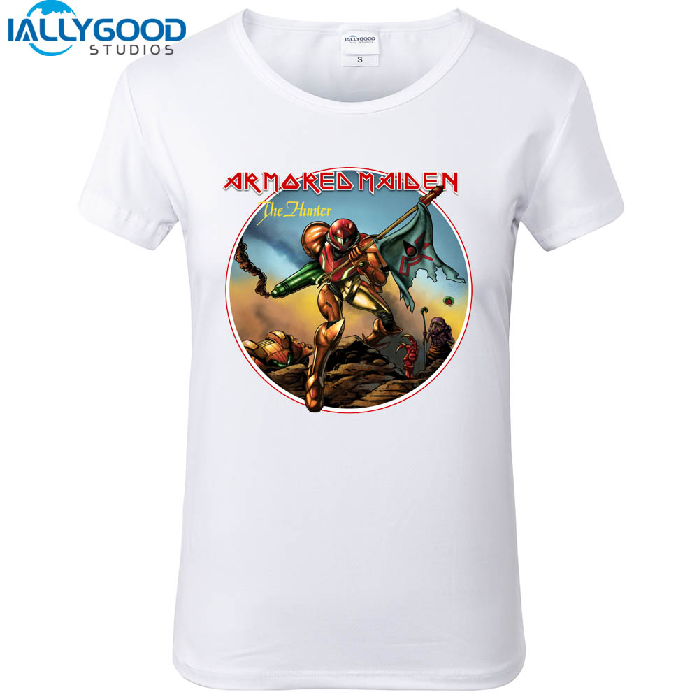Design t shirt games online - 2017 New Summer Women S Fashion Armored Maiden Design Game Printed Shirts Soft Cotton Short Sleeve White