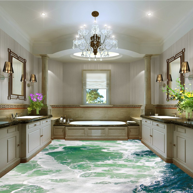 spedizione gratuita ocean modello acqua pavimento del bagno camera da letto pittura autoadesiva impermeabile soggiorno piazza