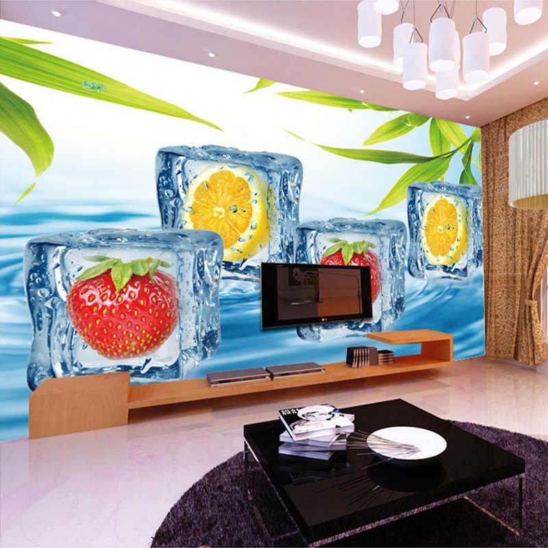 مخصص صور خلفيات 3D ستيريو الفاكهة مكعبات الثلج كبيرة جدارية خلفية المعيشة غرفة التلفزيون خلفية خلفيات الجداريات الحديثة الصور