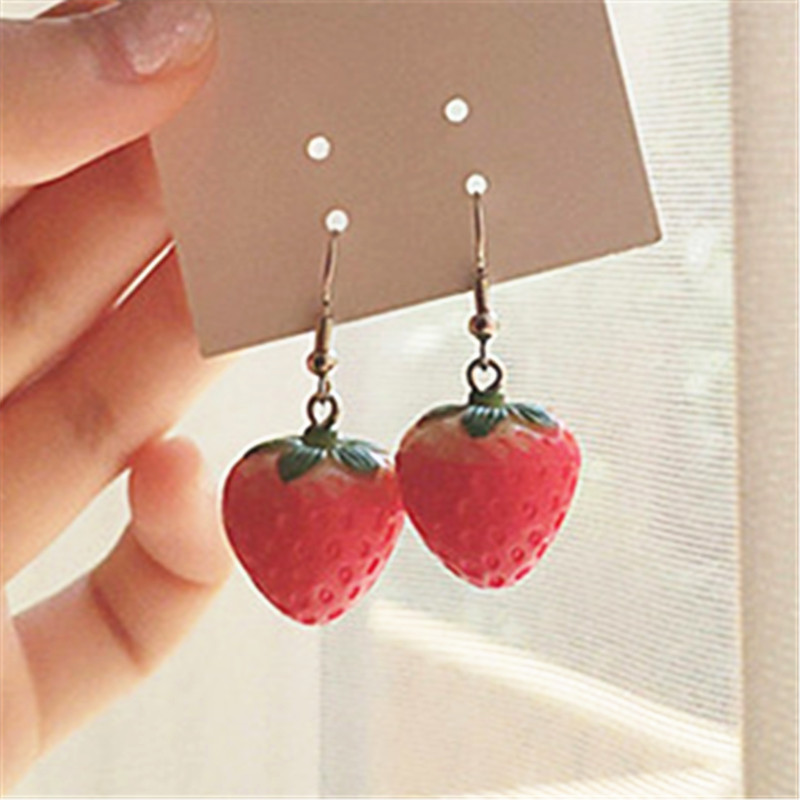 New Fruit Strawberry Earring Female Lovely Girl Simulation Red Strawberry Dangle Earring For Women Fine Jewelry Accessories DIY