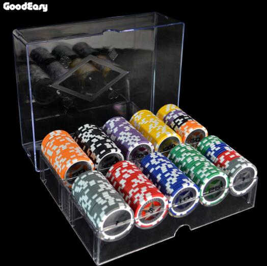 Free Shipping 200PCS Poker Chips Set with Box Clay Ceramic Poker Chips Sets Texas Hold em