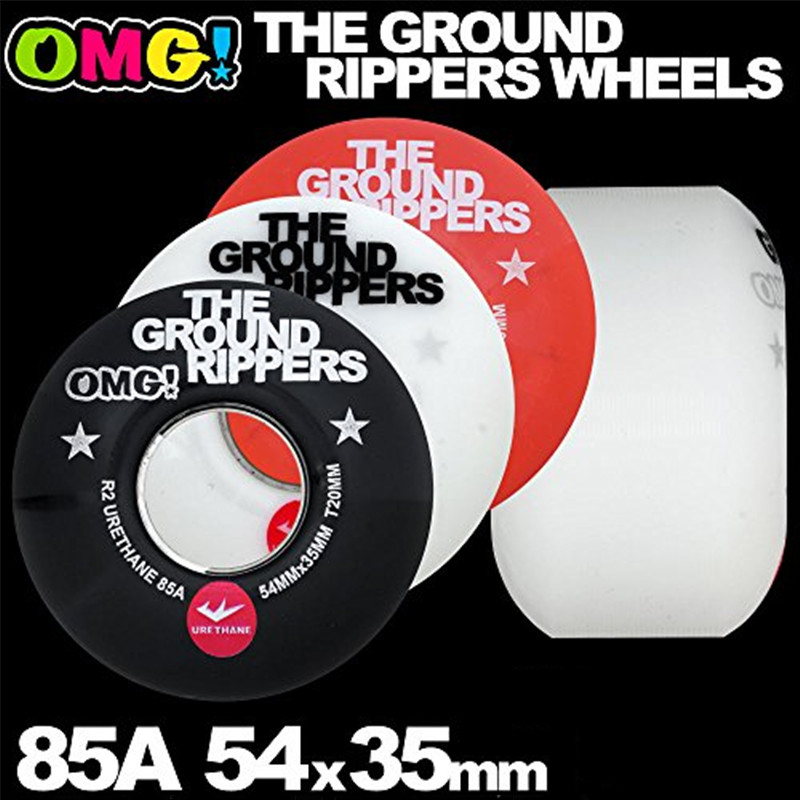 OMG GROUND RIPPERS Soft Skateboard Wheels 54mm 85A For Double Rocker Skateboarding Trucks Rodas De Skate Wheel Black/White/Red