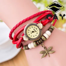 Antique Dragonfly Woman Bracelet Hand Ring Wrist Watch Birthday Gift Bohemian style ladies dress bracelet female clock relojes(China)