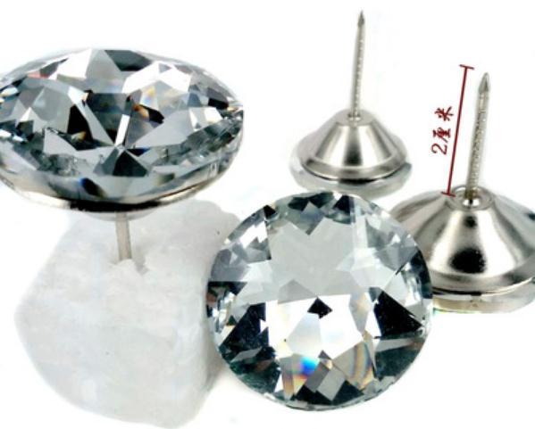 6size 200pcs glass Diamond Pattern Crystal Upholstery Nail Button Tacks Studs Pins Dia Sofa Wall Decoration