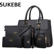 2017 NEW Fashion 5pcs set Women Handbags Famous Brand Designer PU Leather Women Bag Set High