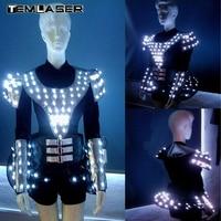 LED Волшебный костюм Glow костюмы для выступлений, магия реквизит, ночной клуб бар вечеринок Костюмы для бальных танцев платье для танцев