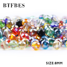 BTFBES 8mm 96 Faceted Football Austrian Crystal Beads 50pcs Round Loose Bead for Jewelry Earring Bracelet Making DIY Accessories