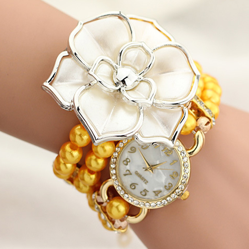 Fashion Korean Women Bracelet Watches Alloy Flower Beads Decoration Wristwatch Magnetic Inlay Rhinestone Quartz Watch LL diy beads painting flower cross stitch wall decoration