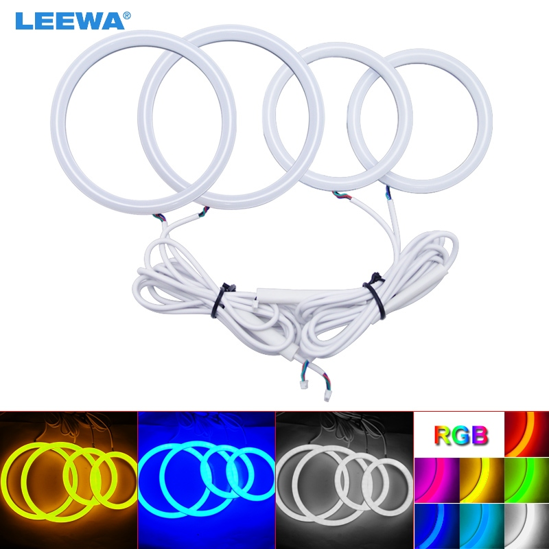 LEEWA 2X80mm 2X100mm Car Auto Halo Rings Cotton Lights SMD LED Angel Eyes for BYD F0/F1 Car Styling White/Blue/Yellow/RGB #1222