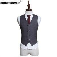SHOWERSMILE Gris Gilet de Costume Hommes Formelle Gilet Slim Fit Robe Gilet Pour Le Mariage Automne Printemps Vêtements Homme Blazer Veste