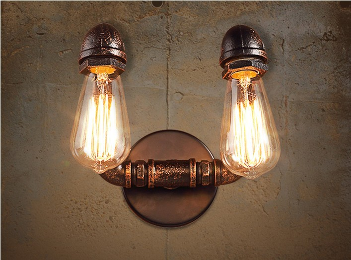 2 Head Nordic Loft Style Industrial Water Pipe Lamp Vintage Wall Light For Home Bedside Edison Wall Sconce Indoor Lighting nordic loft style industrial water pipe lamp vintage wall light for home antique bedside edison wall sconce indoor lighting