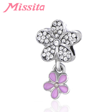 MISSITA Women Romantic Cherry blossoms Beads fit Pandora Bracelet Necklace for Jewelry making Ladies Accessories