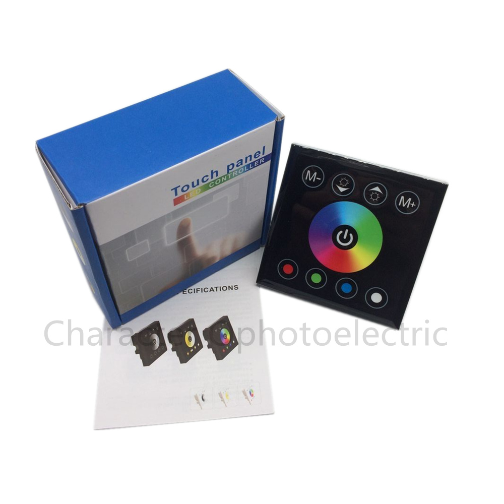 DC12-24V 16A 4A /CH Black Wall Mounted RGB Touch Panel LED Controller Touch Panel RGB Full Color LED Controller dc12 24v 16a 4a ch black wall mounted rgb touch panel led controller touch panel rgb full color led controller