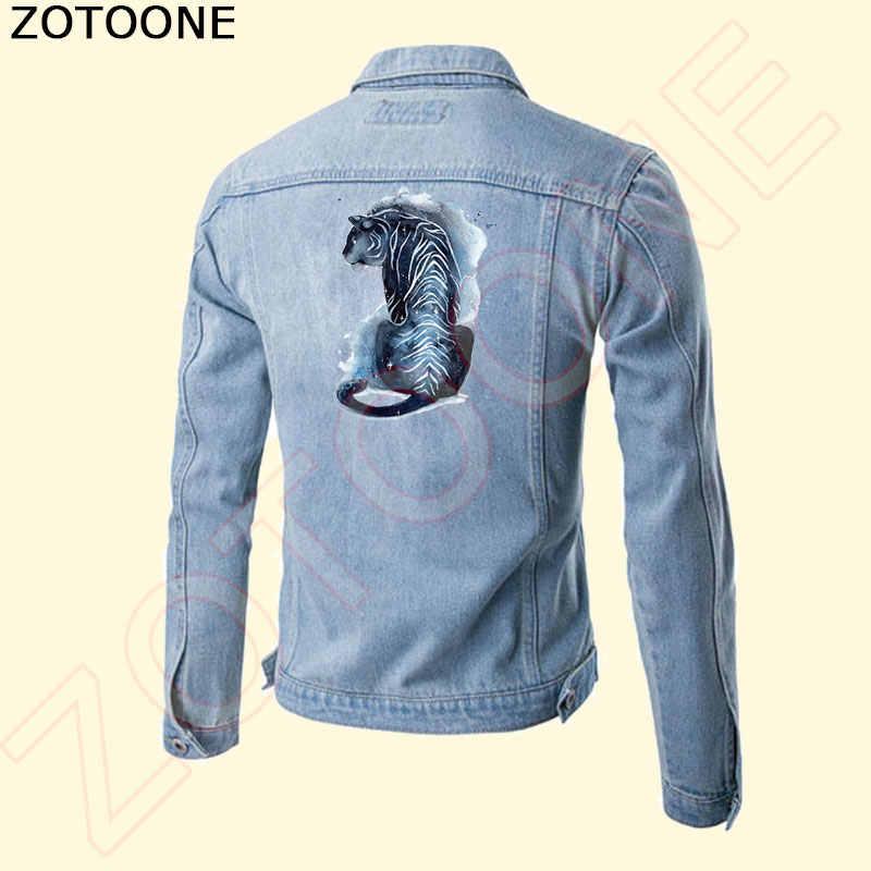 ZOTOONE niebieski tygrys ubrania naklejki na topy gospodarstwa domowego żelazko na przenikania ciepła plastry DIY dekoracje Appliqued na ubrania torba E