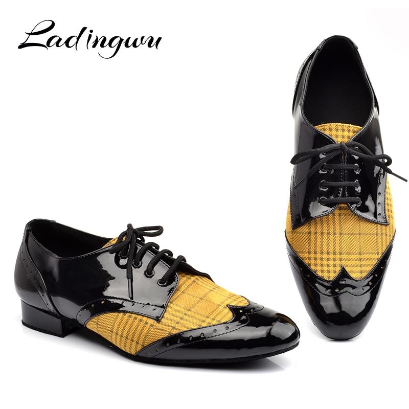 Ladingwu Men  Low-heeled Dance Shoes Latin Dance Shoes Men Salsa Tango Ballroom Dance Shoes PU And Flannel Yellow Blue Lattice