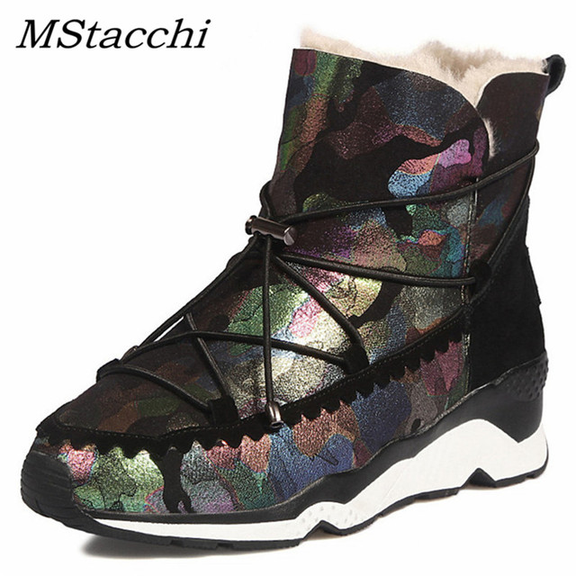 MAtacchi Fashion Hot Sale Platforms Wedges High Heels Wool Ankle Boots Ladies Party Boot Women Cow Suede Winter Snow Shoes Woman
