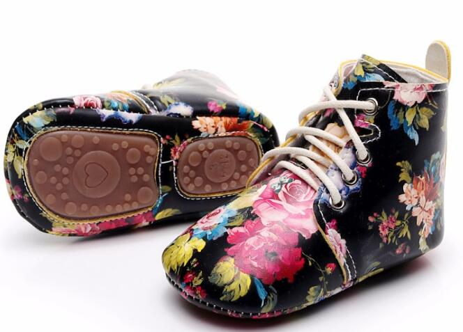 hard sole Spring fashion new floral style lace up pu leather baby moccasins shoes baby boys girls shoes first walkers