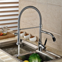 NEW Pull Out Spring Kitchen Sink Faucet Swivel Spout Mixer Tap Chrome Finished