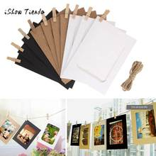 10Pcs Paper Photo Flim DIY Wall Picture Hanging Frame Album Rope Clips Set 5/6 Inch Wall Picture Kraft Home Party Decoration(China)