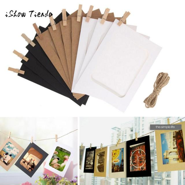 10Pcs Paper Photo Flim DIY Wall Picture Hanging Frame Album Rope Clips Set 5/6 Inch Wall Picture Kraft Home Party Decoration