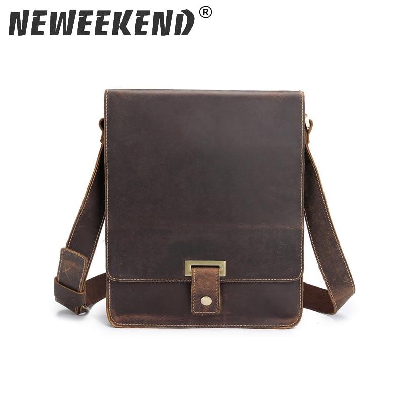 Vintage Men s Genuine Crazy Horse Leather Business Bag Crossbody Shoulder iPad Bags Briefcase Portfolio Handbags