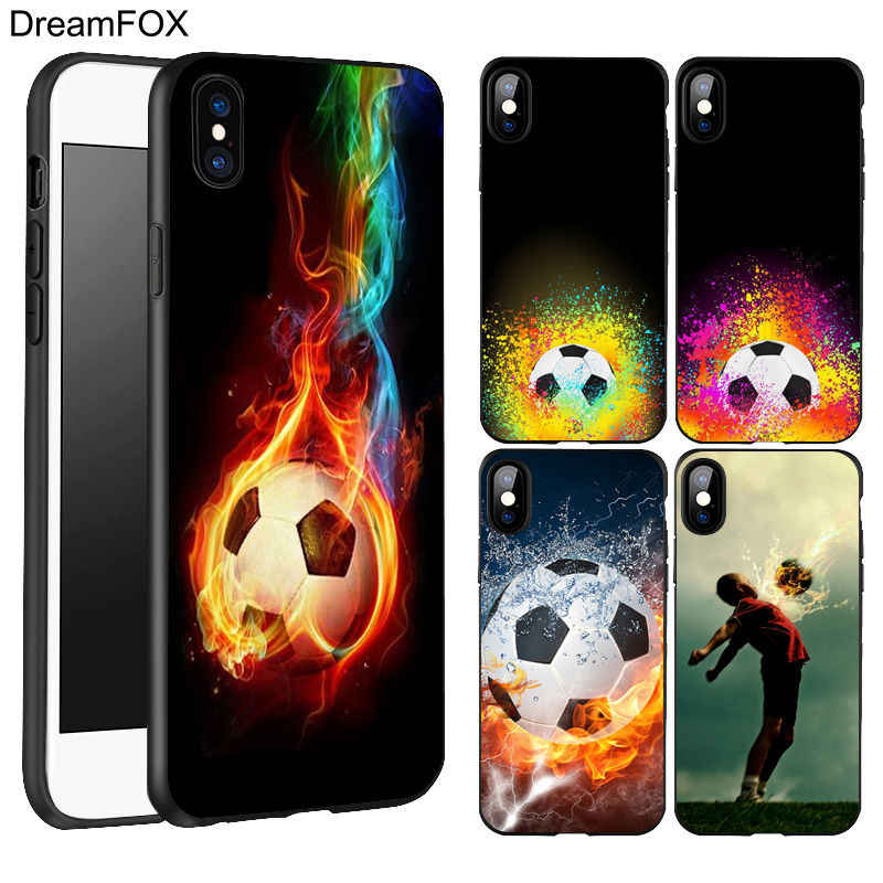 DREAMFOX L165 Fire Football Soccer Ball Black Soft TPU Silicone Case Cover For Apple iPhone X 8 7 6 6S Plus 5 5S 5G SE