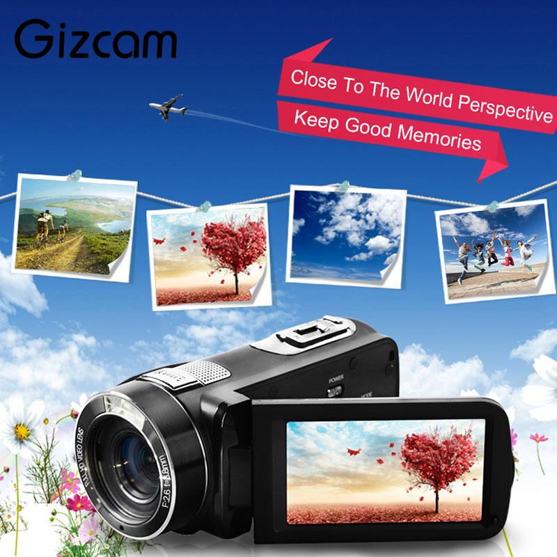 Gizcam 3.0 24MP HD 1080P Digital Video Camera 16X Zoom Camcorder Anti-Shake DV Cam DVR portable infrared video camera 1080p hd 16x zoom 3 0 tft lcd digital video camcorder camera dv dvr support for night shooting