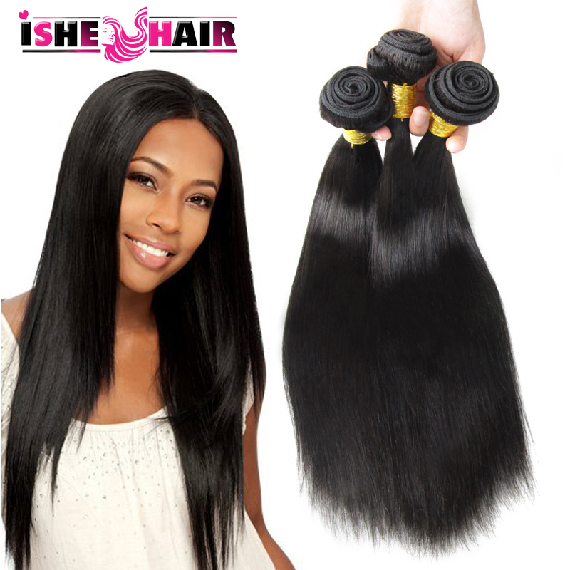7a Unprocessed Indian virgin Hair Straight Human Hair Weave 3 Bundles Indian Straight Virgin Hair Extension ISHE Hair Products