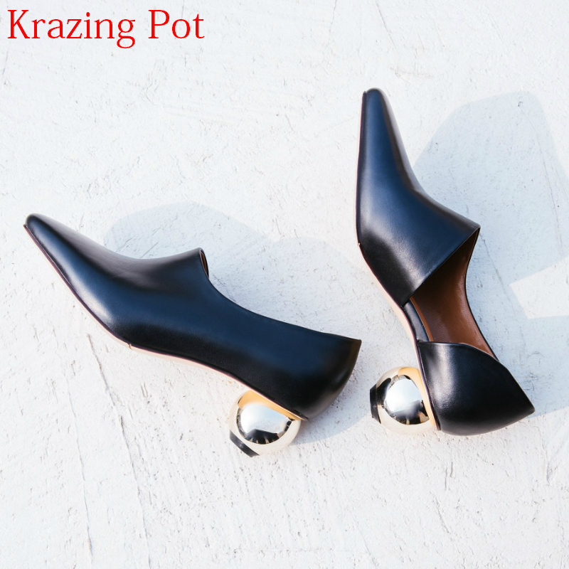 Superstar Spring Shoes Novelty Med Heels Genuine Leather Women Pumps Slip on Shallow Concise Strange Style Office Lady Pumps L65 xiaying smile woman pumps british shoes women thin heels style spring autumn fashion office lady slip on shallow women shoes