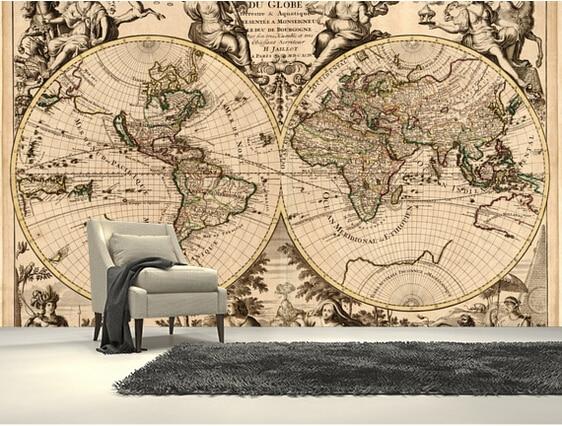 custom pintado retro antiguo mapa foto d murales para la sala de estar cocina