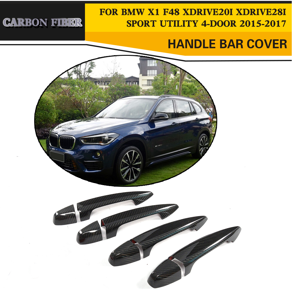 Car Styling Carbon Fiber Auto Side Door Handle Bar Covers for BMW X1 F48 xDrive Sport Utility 4 Door 2015 2017