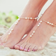 Min. order $10. Free shipping! Cute Imitation Pearl Crystal Water Drop foot Anklets Bracelet Bangle Summer Female Beach Jewelry